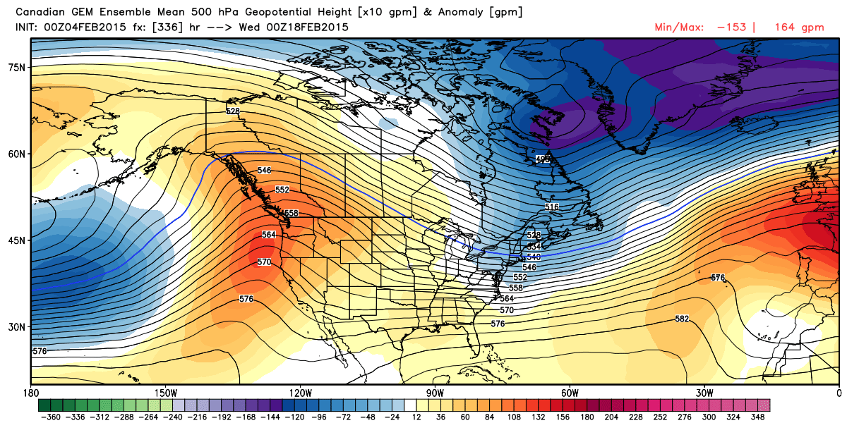 progged 500 mb (18000 feet) wind flow and anomalies for February 18