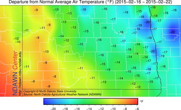 Temperature Departure from Average 2/16 through 2/22