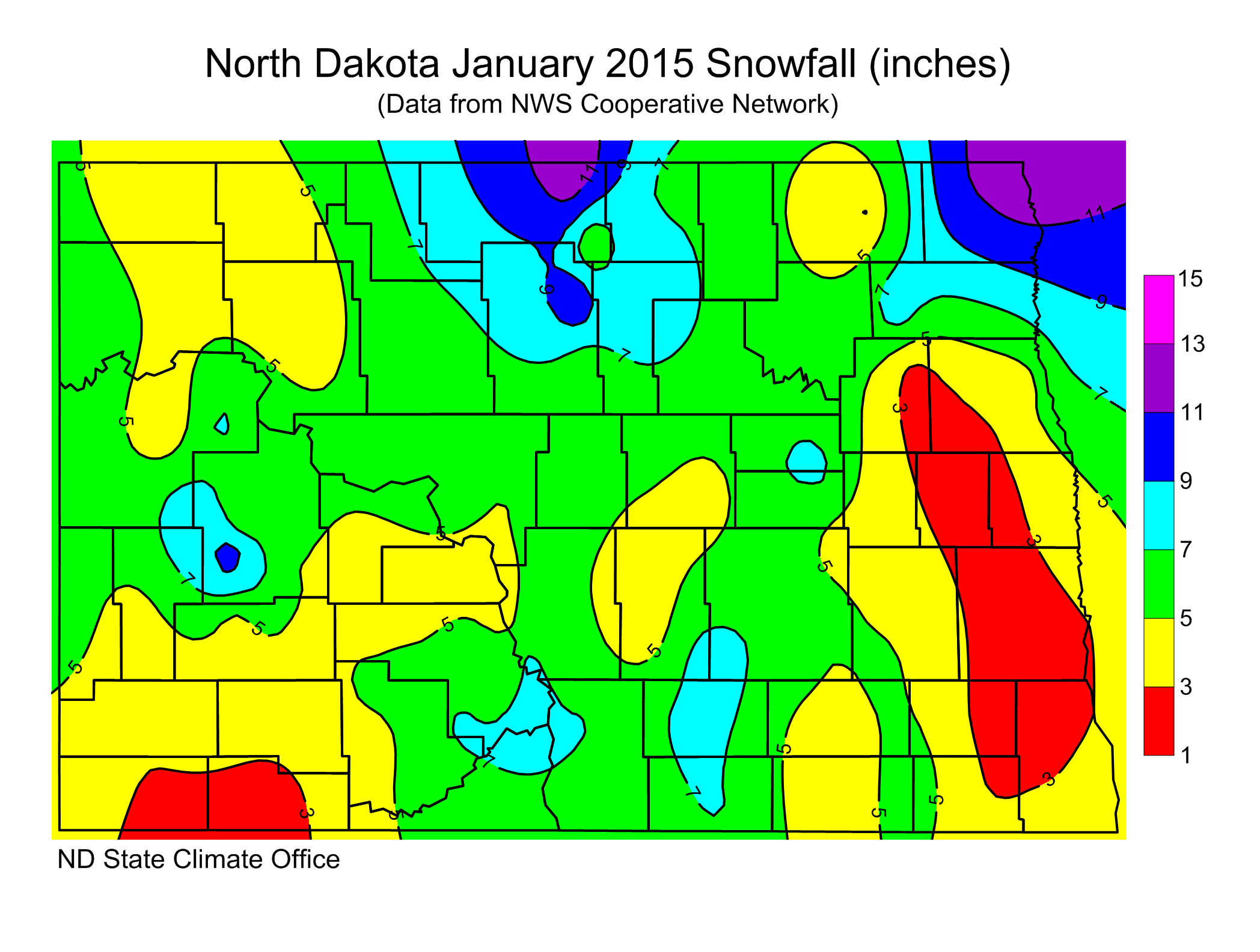 January 2015 Snow Totals