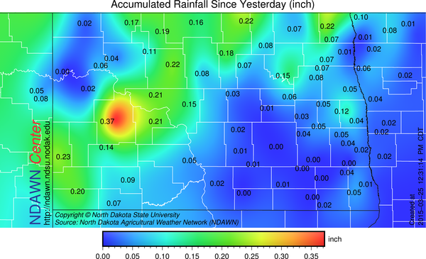 March 24, 25, 2015 Rain (melted snow) Totals