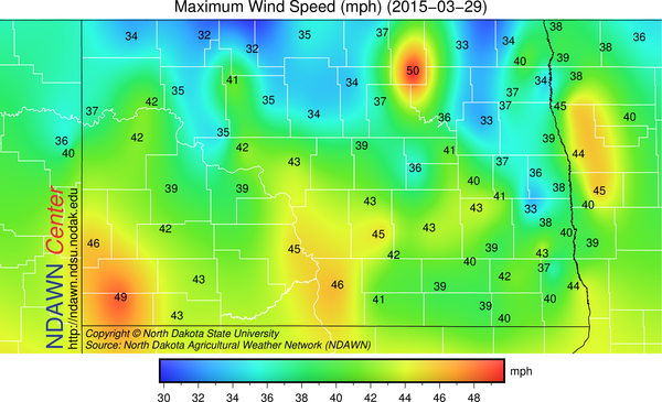 Maximum Wind Speed for Sunday, March 30, 2015