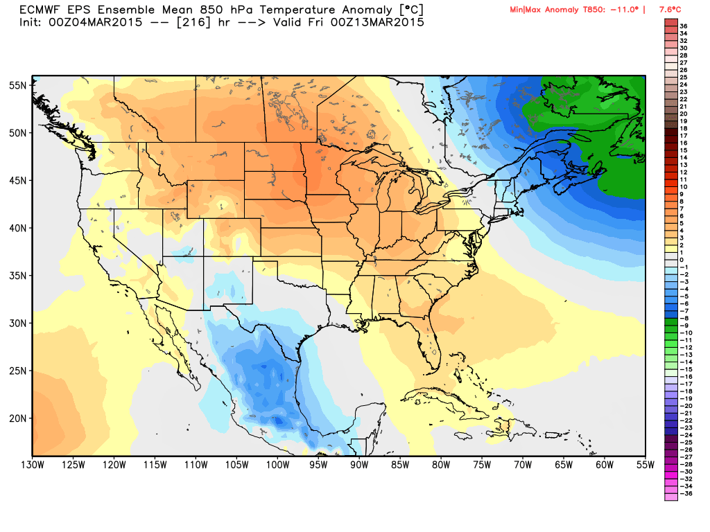 850 mb temperature anomalies for March 12, 2015 at 6:00 PM