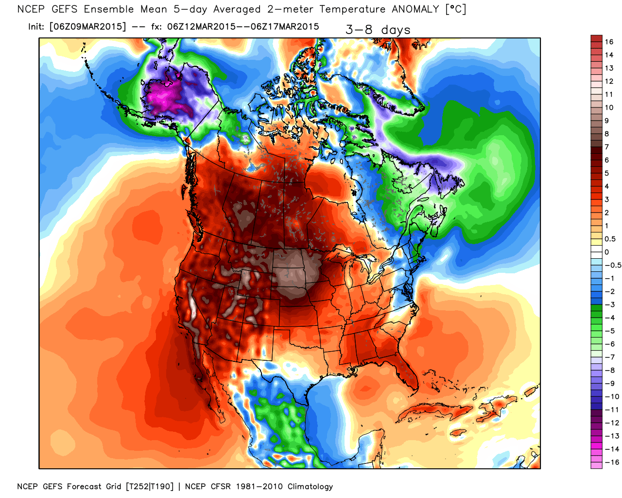 Projected Temperature Anomalies March 12 to 17