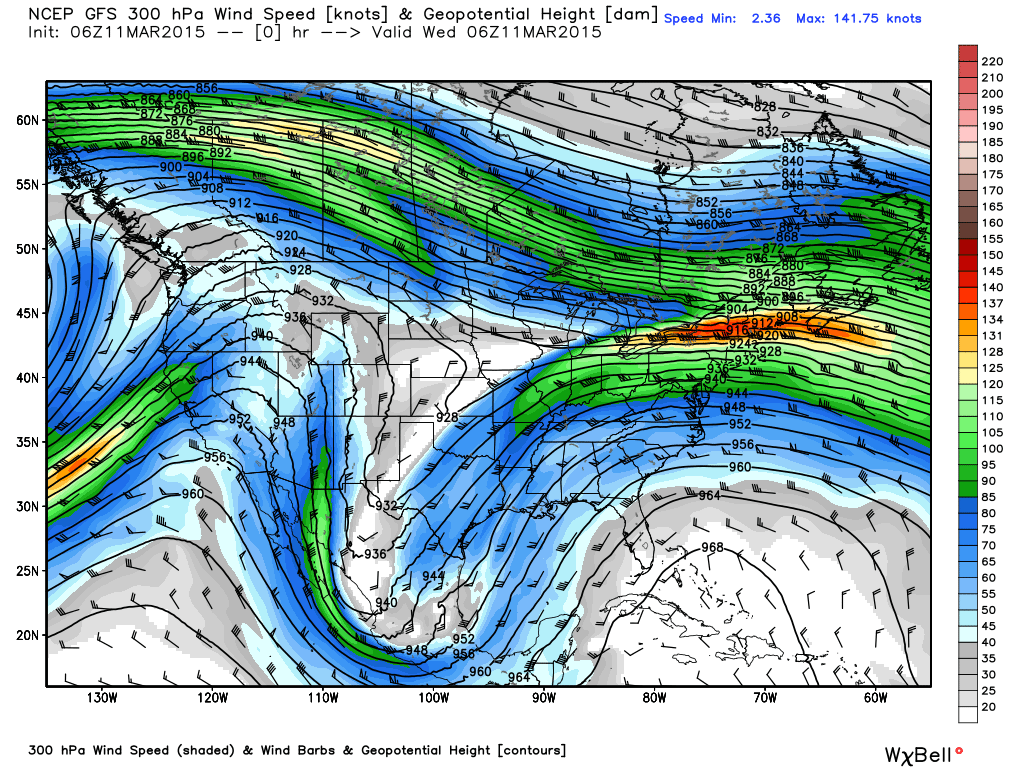 300 mb Wind Speed and Heights for 1 AM CDT March 11, 2015