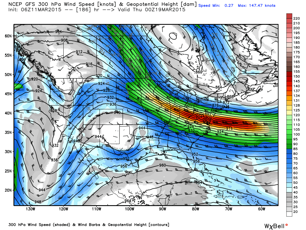 Projected 300 mb wind speed and heights for Wednesday March 18 at 7:00 PM