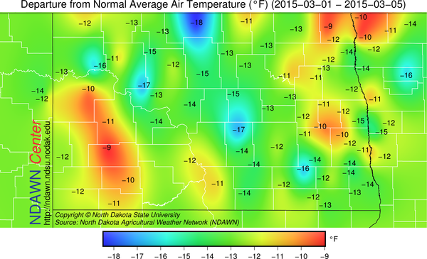 Temperature Anomalies from average March 1 through March 5, 2015