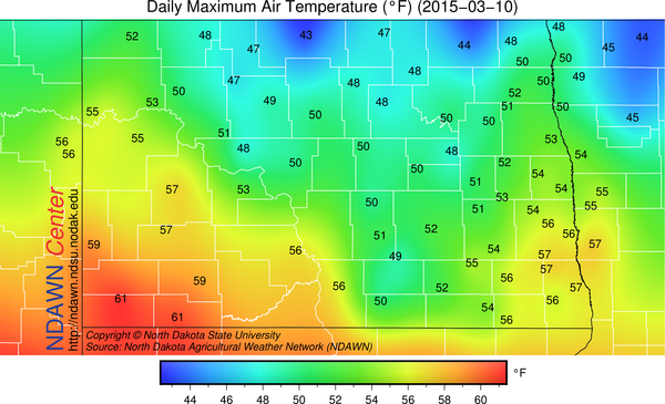 High temperatures on March 10, 2015