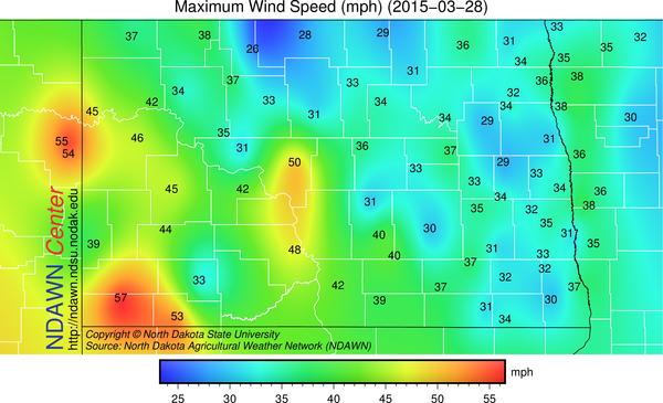 Maximum Wind Speed for Saturday,  March 28, 2015