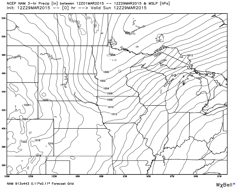 Sunday, March 29, 2015, 7 AM Surface Analysis