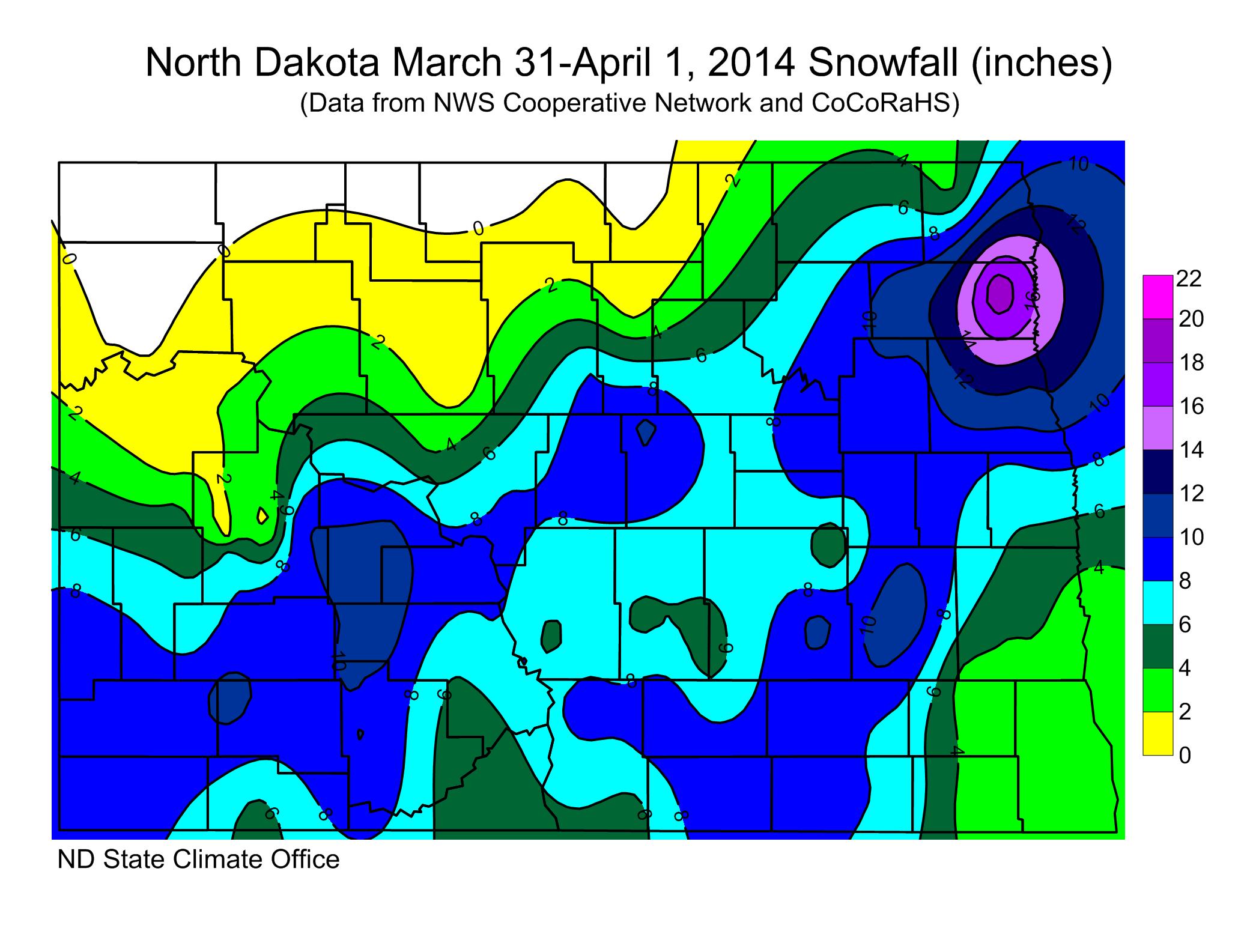 March 31 2014 Blizzard Snow Totals