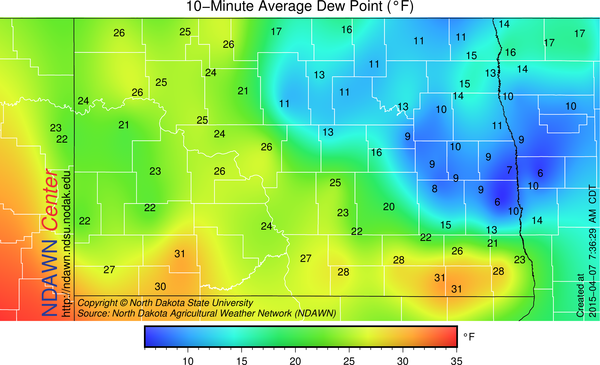 Dew Point Temperatures this morning at 7:30 AM