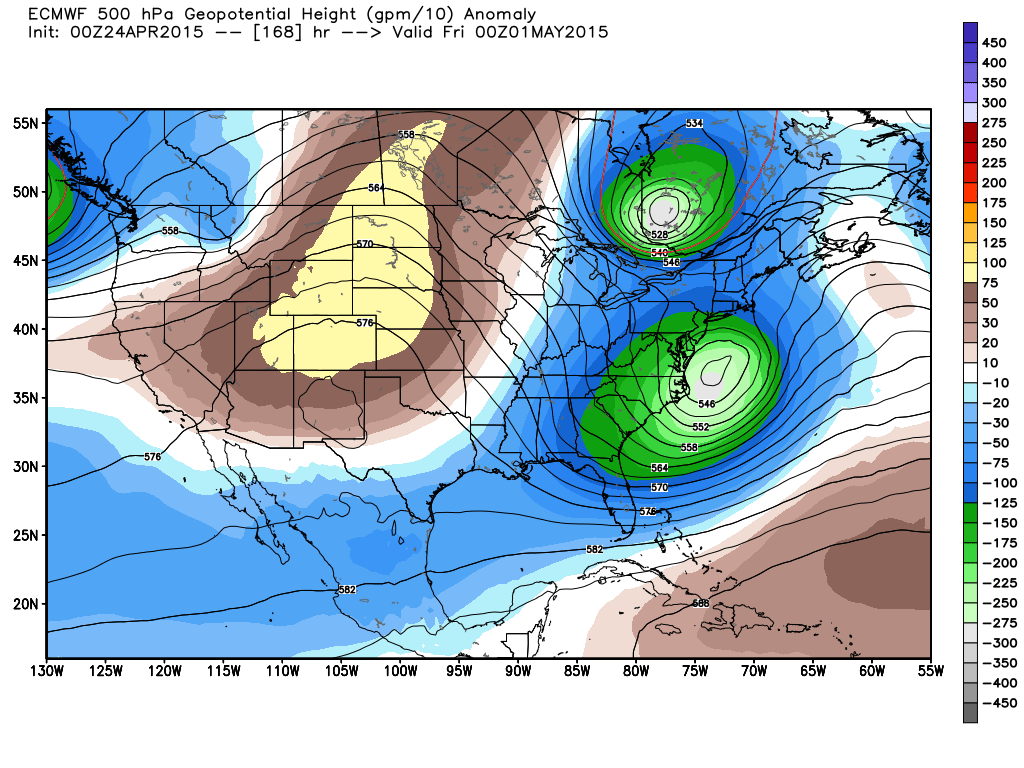 Projected 500 mb heights and anomalies for Thursday, April 30 at 7:00 PM