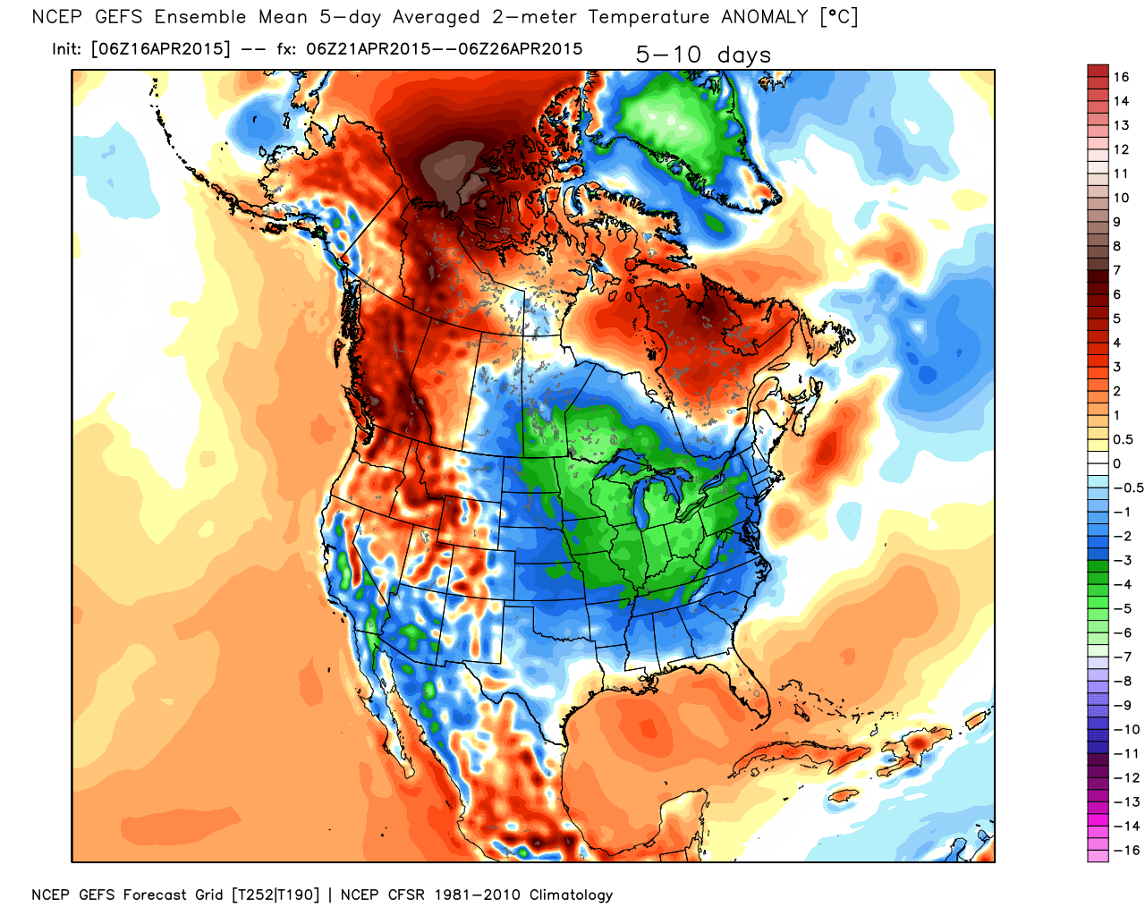 5 Day Temperature Anomaly For April 21 through April 26