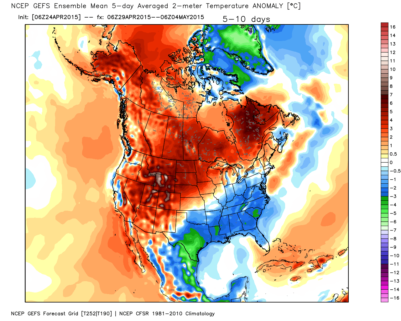 Temperature Anomalies from Average for the period of April 29 through May 4