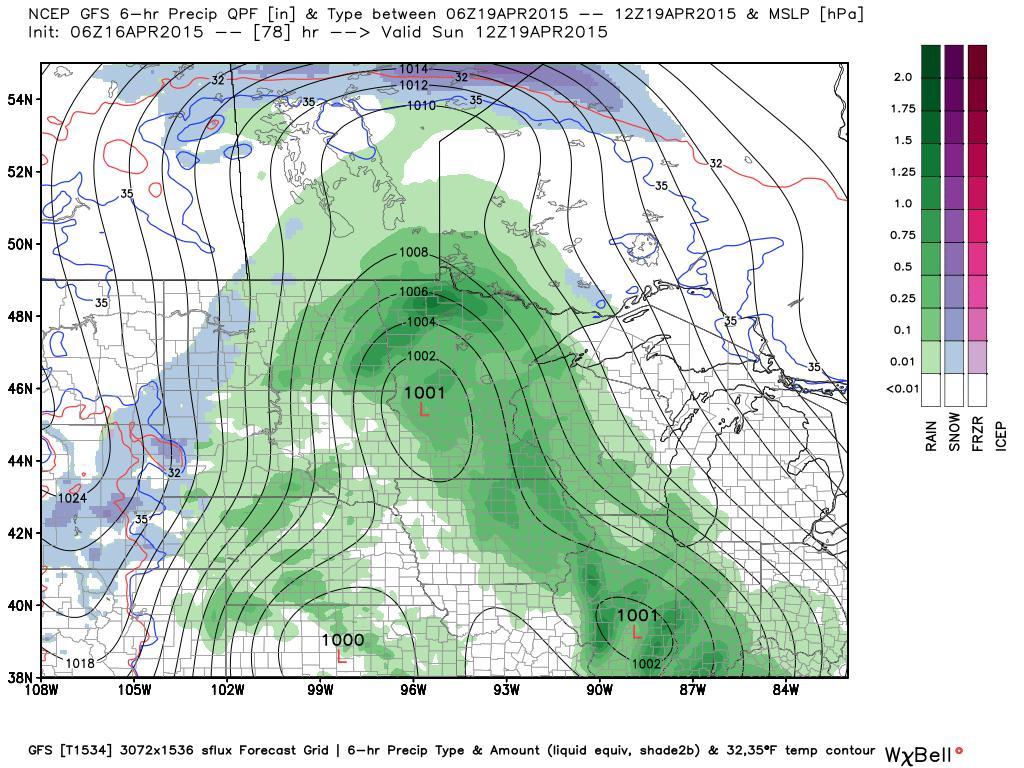 Sunday 7:00 AM Surface Map and Precipitation