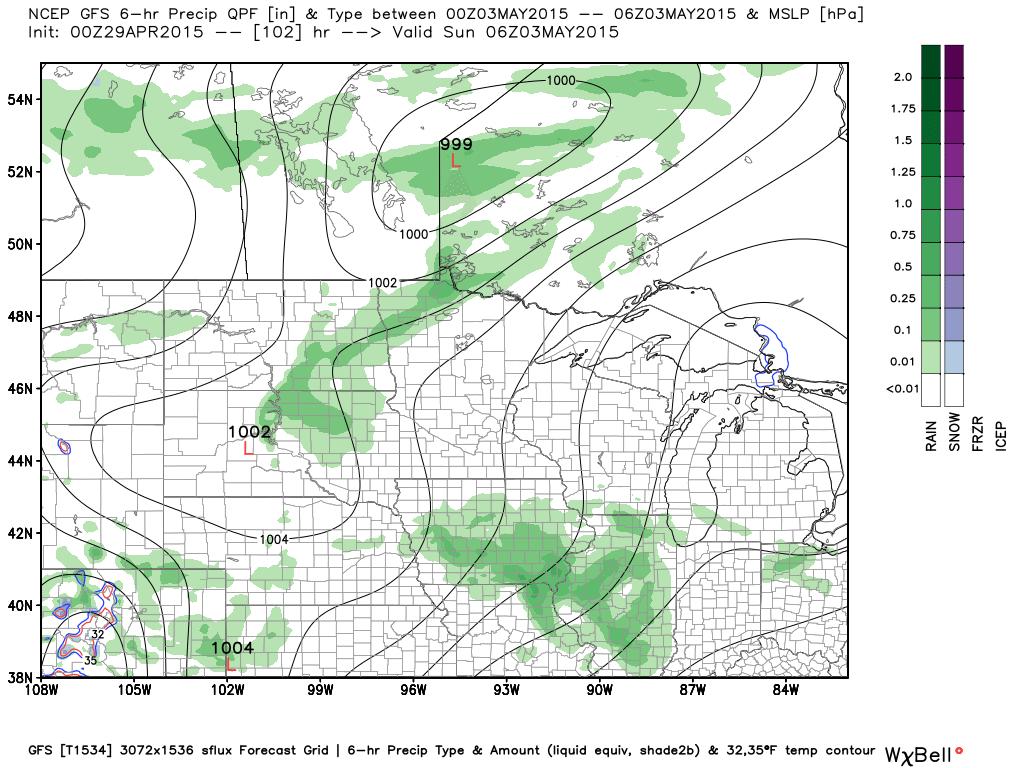 1 AM Sunday, May 3, 2015 Projected precipitation