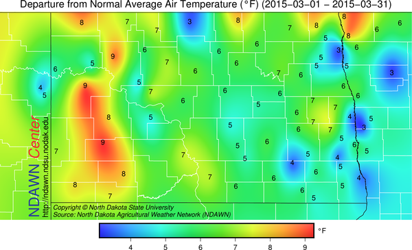 March 2015 Average Temperature Departure from Normal