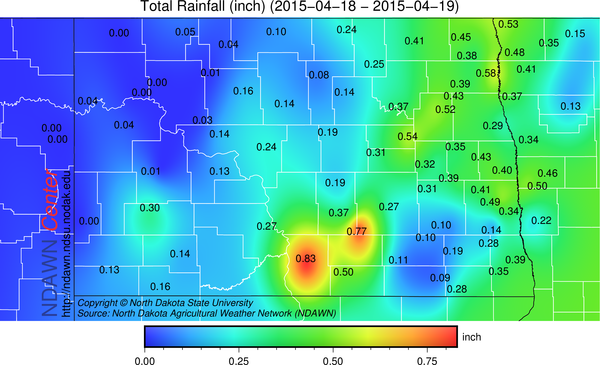 April 18 and 19 Rainfall Totals
