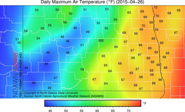 Sunday, April 26, 2015 Maximum temperatures