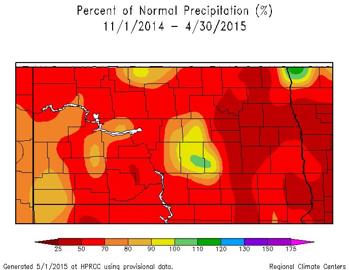 Percent of Normal Precipitation November 1, 2014 to April 30, 2015.