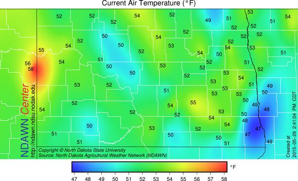 2:40 PM Temperatures (May 29, 2015)