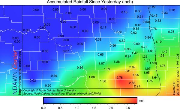 NDAWN rain totals from May 10 through May 11 at 12:22 PM CDT