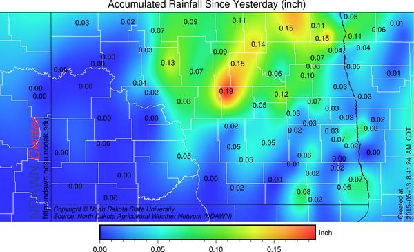 Overnight Rainfall via NDAWN