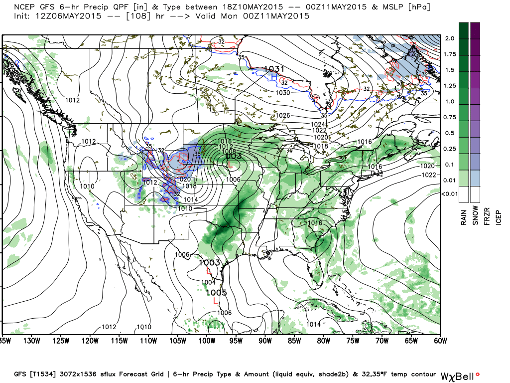 Sunday, May 10, 2015 Global Forecast System (GFS) projected surface map and precipitation type