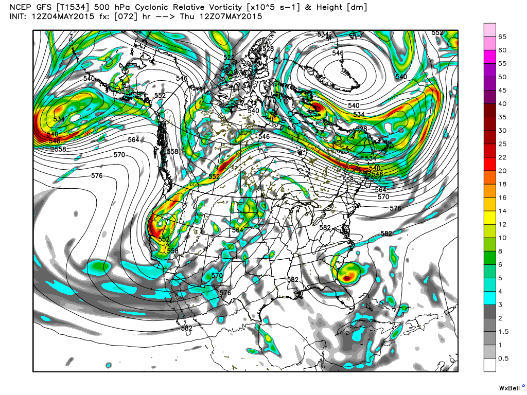 7:00 AM Vorticity and 500 mb heights for Thursday, May 7, 2015