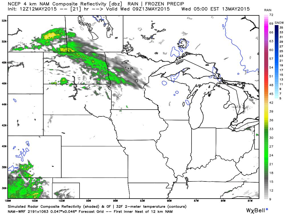 4:00 AM projected Radar from WRF-NAM (4 km)
