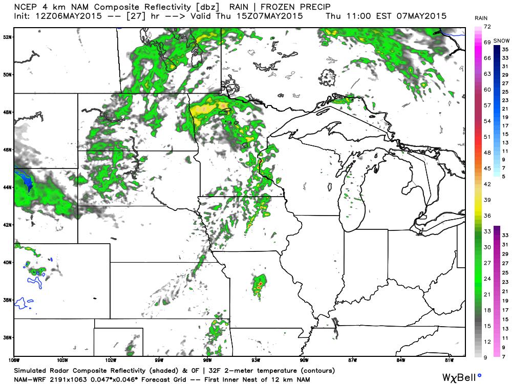 Future Radar WRF-NAM for 10:00 AM Thursday, May 7, 2015