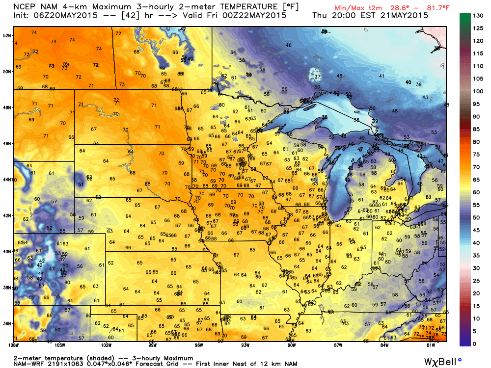 Maximum Temperatures for Thursday, May 21, 2015 Projected from the WRF-NAM