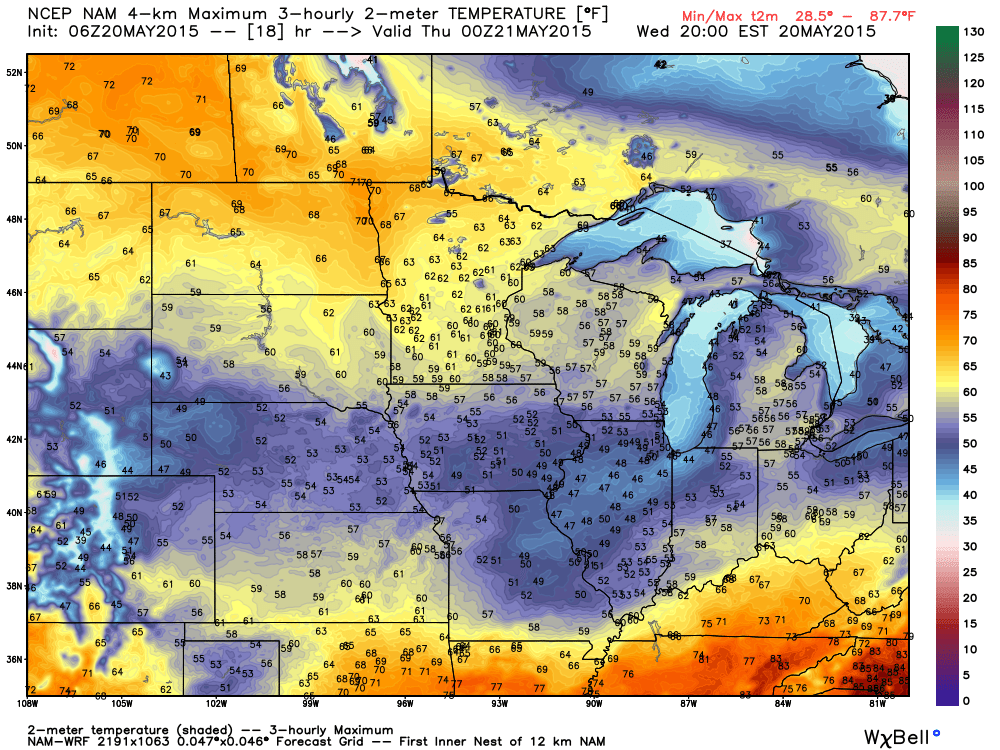 Wednesday Maximums Projected from the NAM-WRF