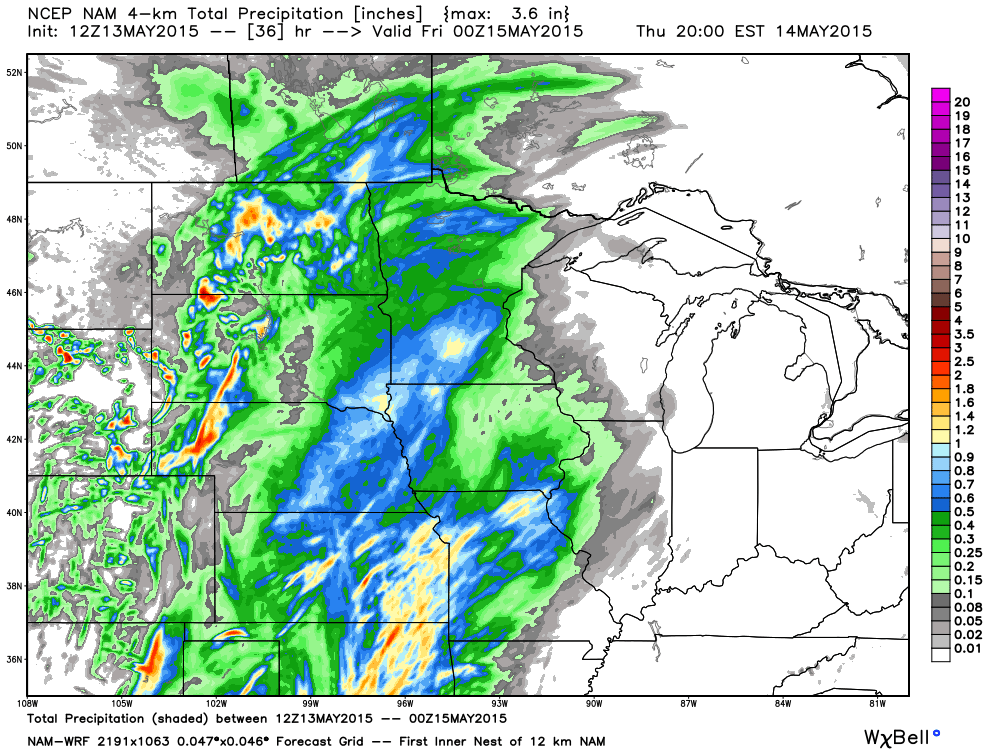 36 hour Total Precipitation Projection from the NAM-WRF 4 km