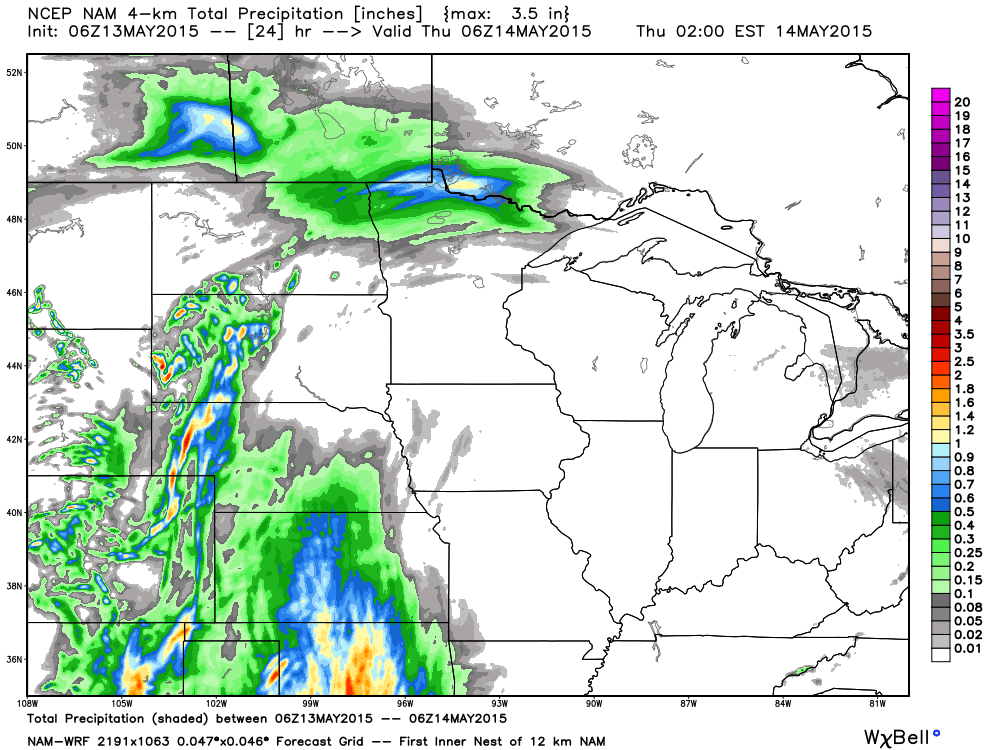 Projected Rainfall for Wednesday, May 13, 2015