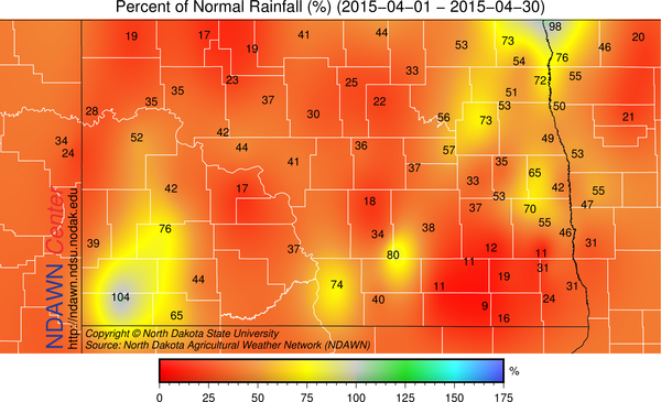 Percent of Normal Rainfall, April 2015, NDAWN Stations