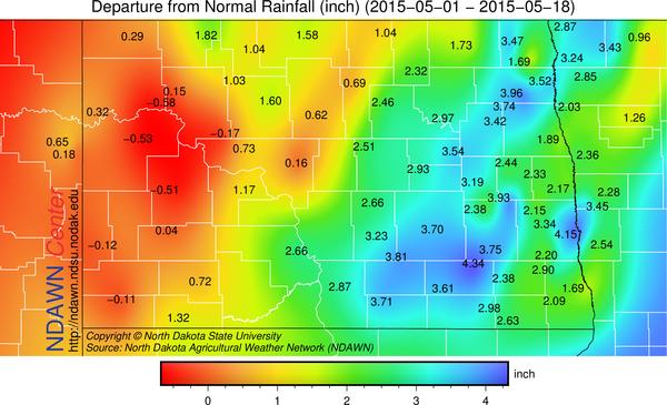 Precipitation anomalies through May 18.