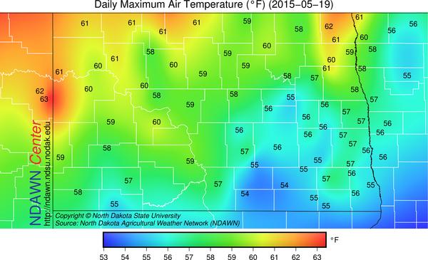 Tuesday, May 19, 2015 Maximum Temperatures