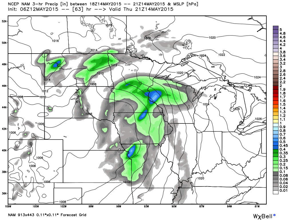 Thursday, May 14, 2015 4 PM 3 hour precipitation and surface features