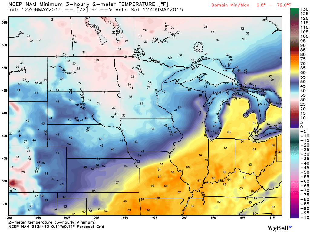 Saturday, May 9, 2015 projected minimums from the NAM Guidance