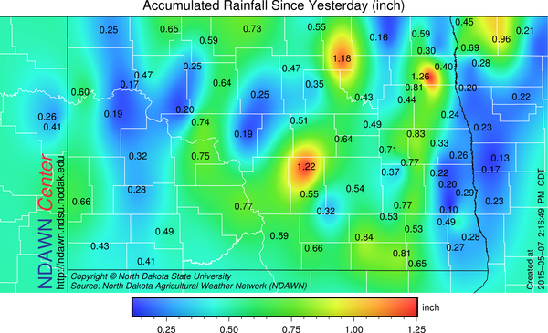 Rain Totals from May 6 and May 7 (through 2:00 PM) across the NDAWN mesonet