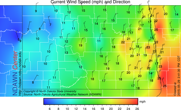 2:40 PM Wind Speed and Direction