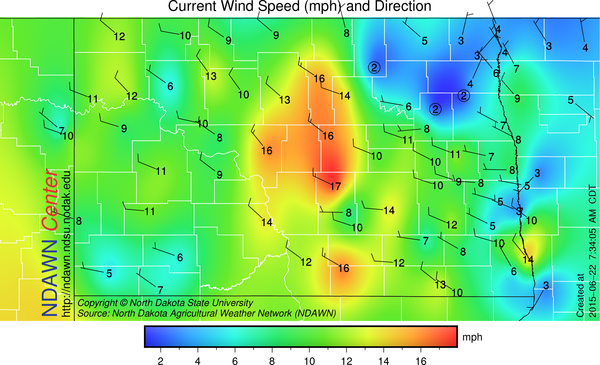 7:30 AM Wind Speed and Direction