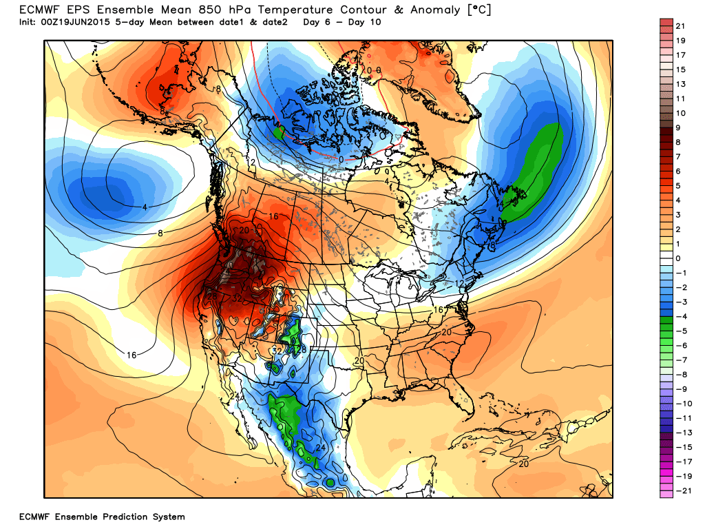 The 6-10 day outlook from the WMO-Essential ECMWF Ensemble mean 850 mb temperatures