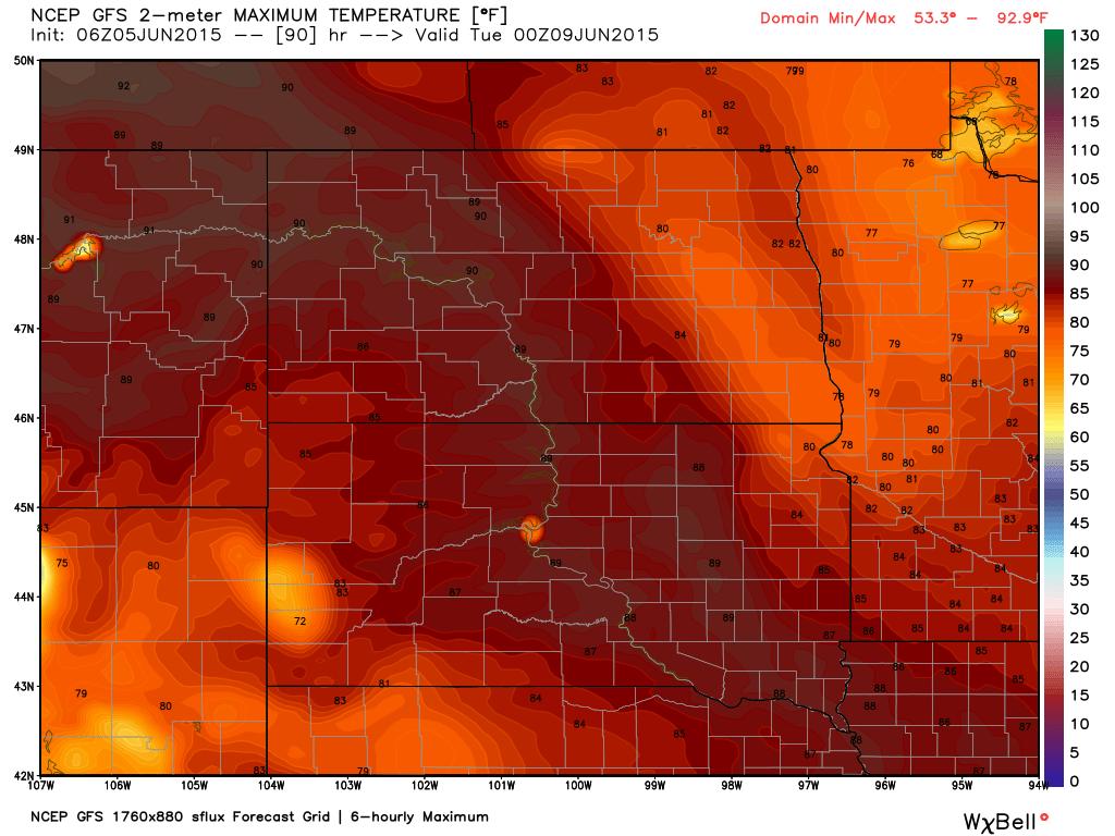 Monday June 8, 2015 Maximum Temperature Projection