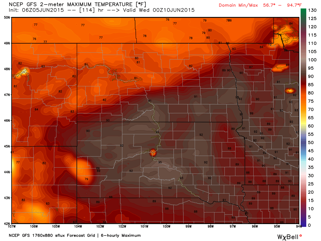 Tuesday June 9, 2015 Maximum Temperature Projection