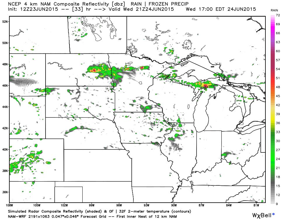 4:00 AM Projected Radar fro Wednesday June 24, 2015