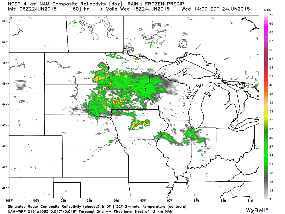 1 PM Wednesday, June 24, 2015 projected radar