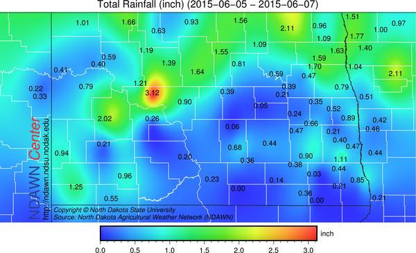 June 5-7, 2015 rain totals