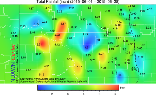 Total Rainfall from June 1 through June 28, 2015